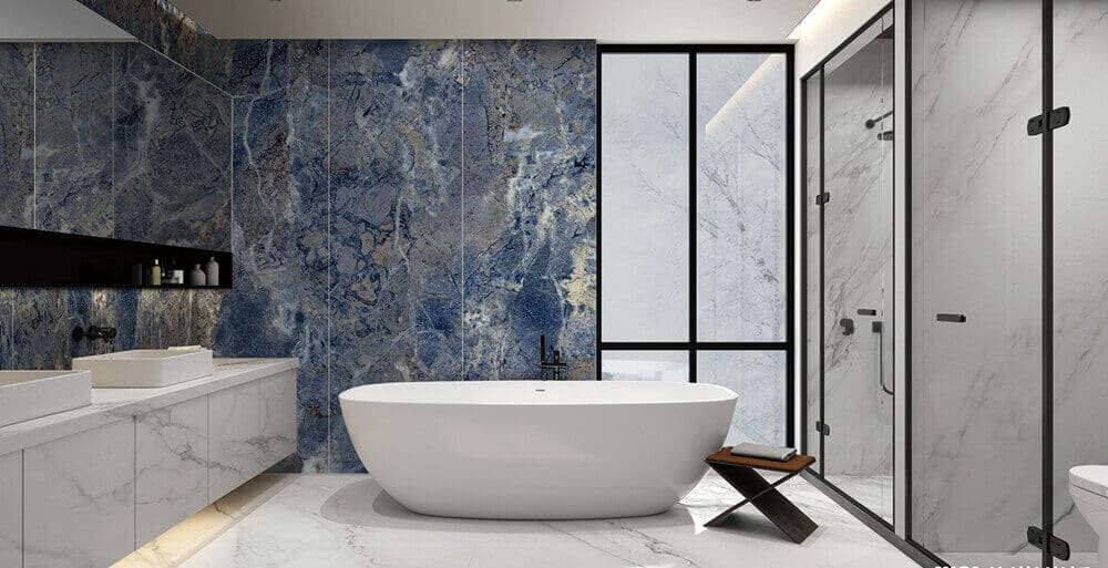 Dalles en pierre frittéesalle de bain