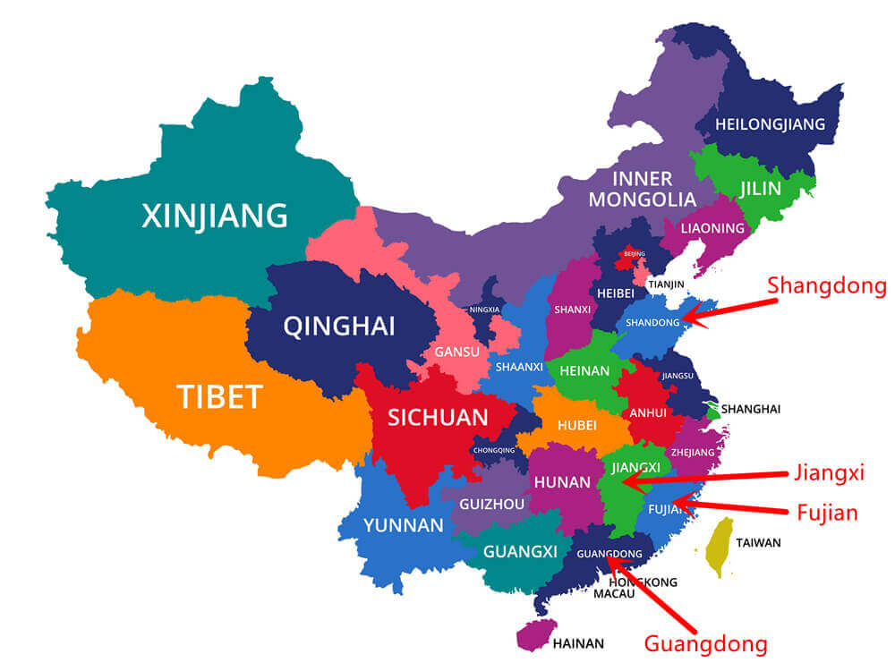 Où se trouvent les principales régions productrices de carreaux en céramique en Chine -